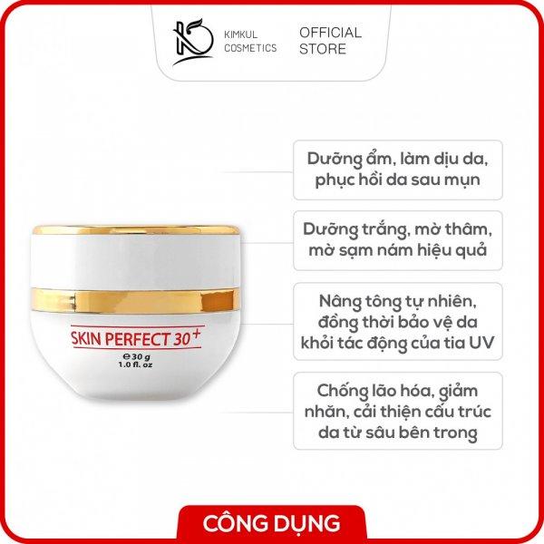 8938533074057 Kem dưỡng trắng da mặt ngừa mụn KimKul Skin Perfect 30+ 30G - Giúp da trắng sáng, mịn màng, và trẻ hóa làn da