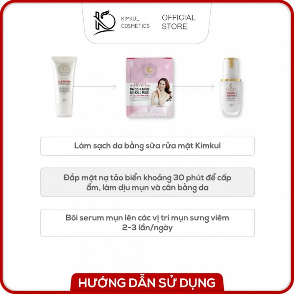 Combo trỉ mụn cho Nữ KimKul (Pro Acne Solution + Cleanser For Woman + Bio-Cell Mask) - Bộ combo hỗ trợ trỉ mụn nhanh