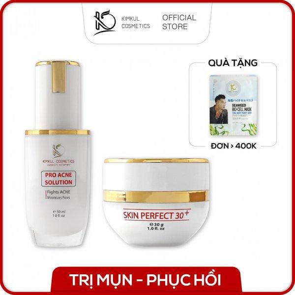 Combo trỉ mụn KimKul gồm Serum Pro Acne Solution 30ML + Cream Skin Perfect 30G - Bộ Serum và Kem trỉ mụn thâm sẹo rỗ hiệu quả
