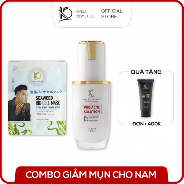 Combo tri mụn cho Nam KimKul (Pro Acne Solution + Cleanser For Woman + Bio-Cell Mask) - Bộ combo hỗ trợ trị mụn nhanh cho Nam
